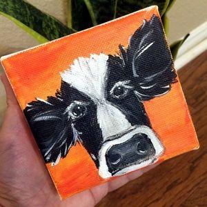 Cow Portait orange modern farmhouse mini canvas